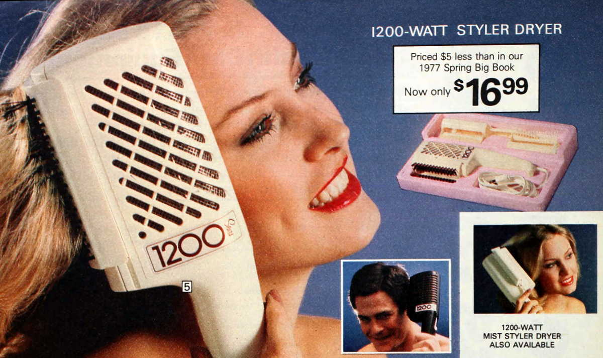 Retro 70s hair dryer and styler
