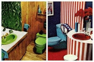 Retro '70s powder rooms with power color