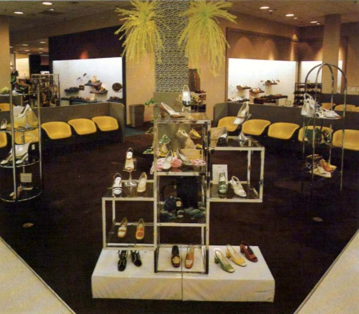 Retro 70s shoe store displays and seating (1974)