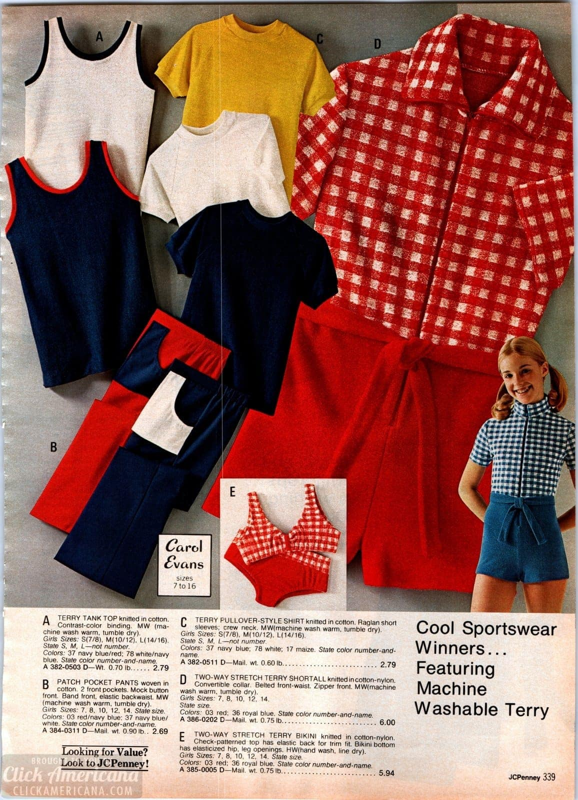 Retro 70s sportswear for girls - tank tops and terry shortalls plus patch pocket jeans