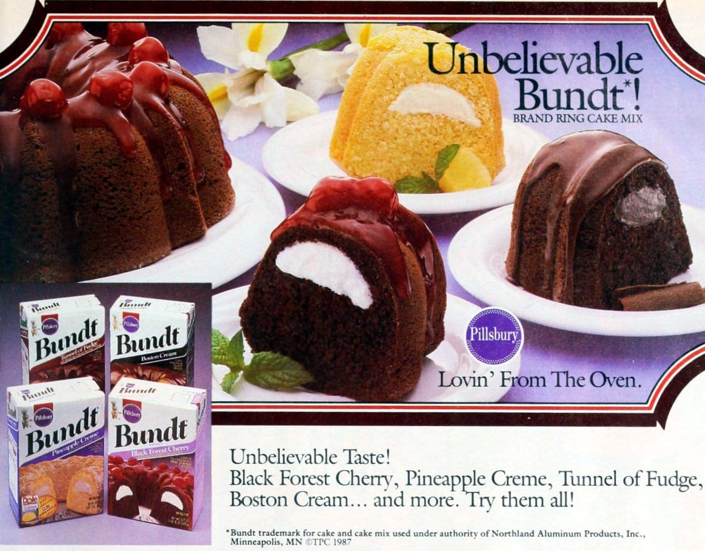 Retro 80s Pillsbury Bundt cake mixes (1987)
