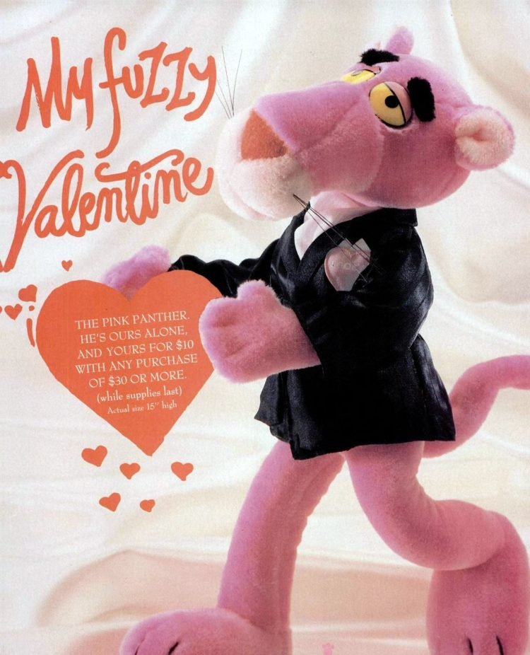 Retro 80s Pink Panther stuffed plush toy