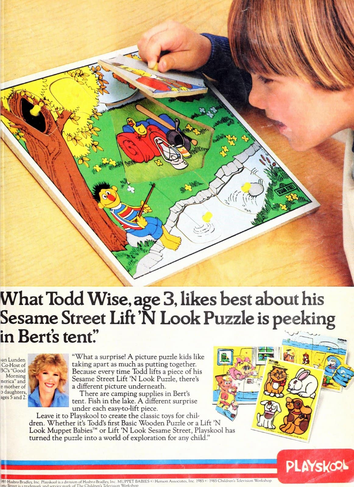 Retro 80s Playskool Sesame Street Lift N Look Puzzle (1985)