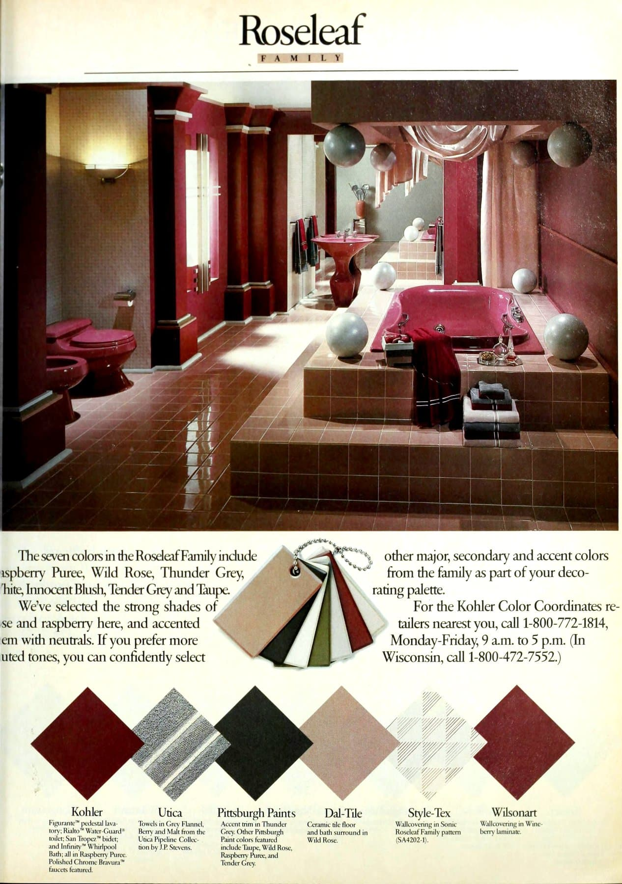 Retro '80s Roseleaf bathroom decor (1986)