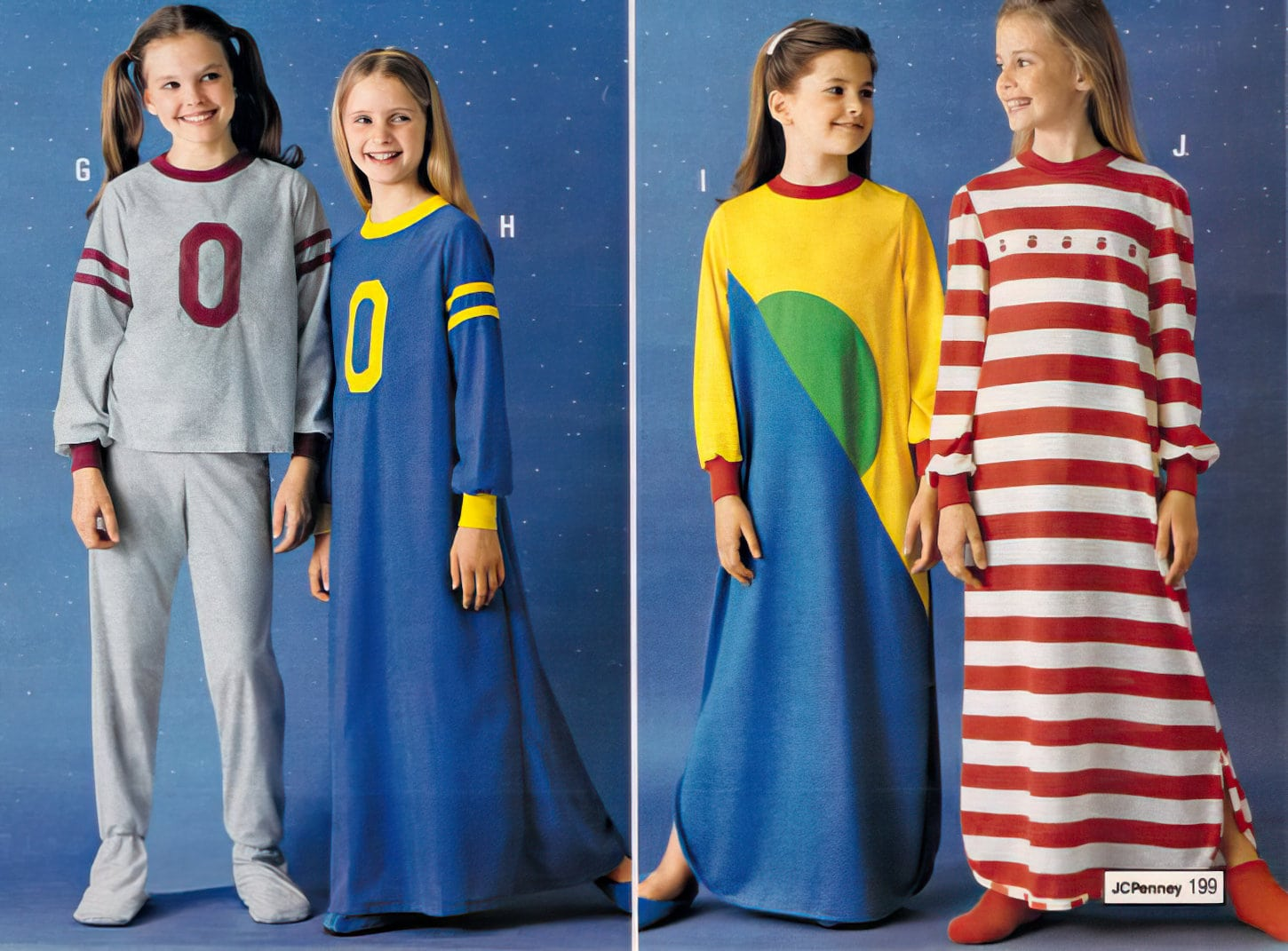 Retro 80s pajamas and nightgowns for girls (1980)