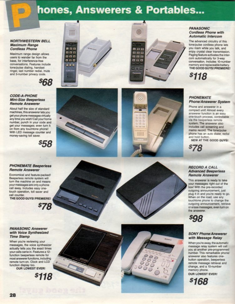Retro 80s phones, answerers and portables