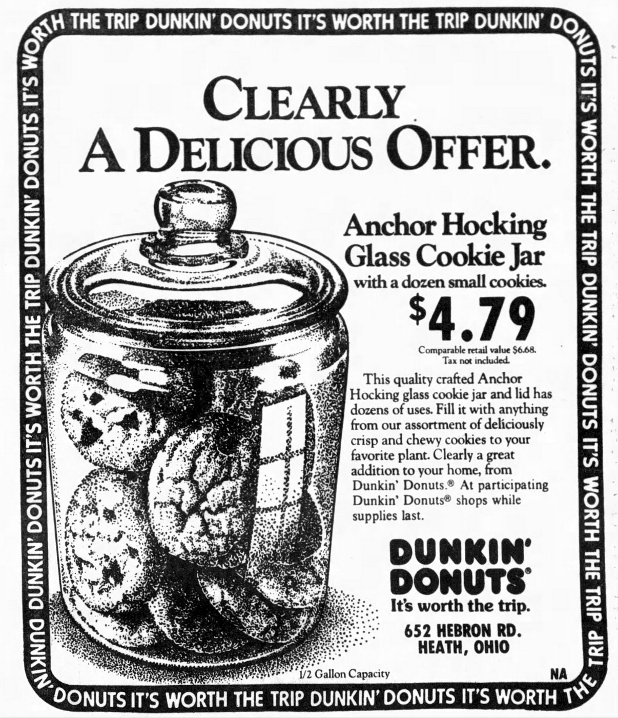 Retro Anchor Hocking glass cookie jar from Dunkin Donuts (1984)