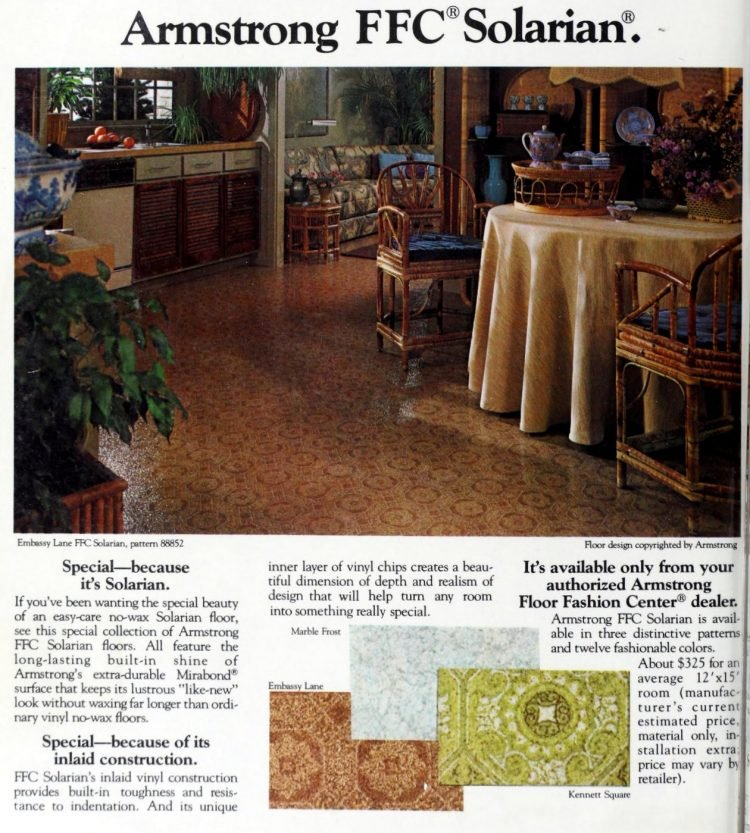 Retro Armstrong FFC Solarian vinyl flooring from 70s and 80s - From ClickAmericana com