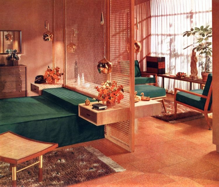 Retro Asian-inspired master bedroom decor apartment-style from the 1950s