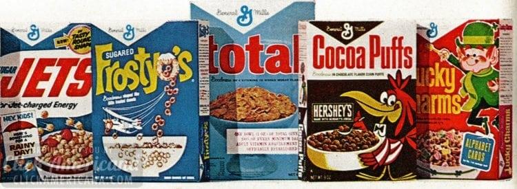 Retro Big G cereals from 1967 - Quaker Cap'n Crunch, Quisp, Quake