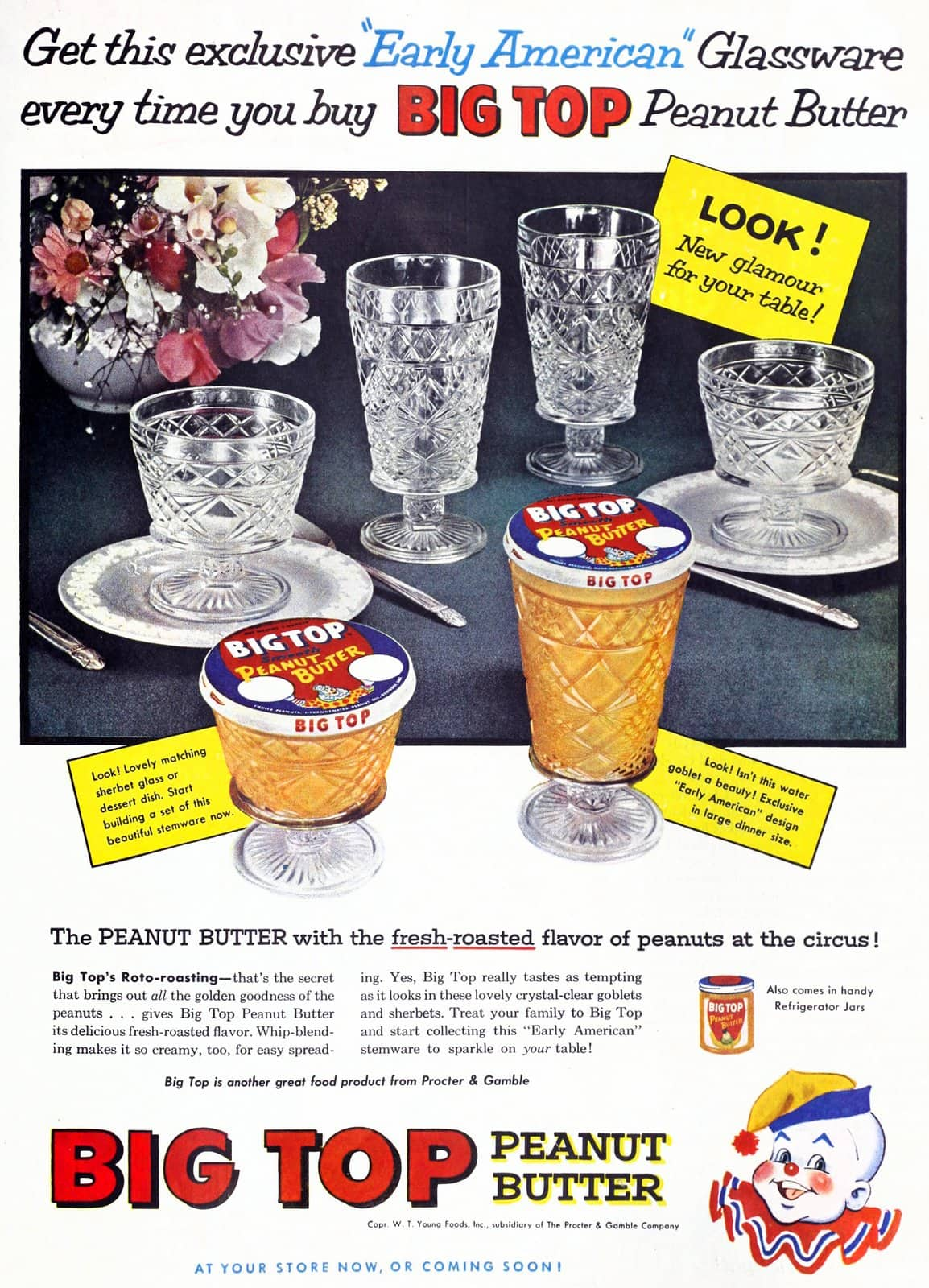 Retro Big Top Peanut Butter with Early American glassware you can collect (1957)