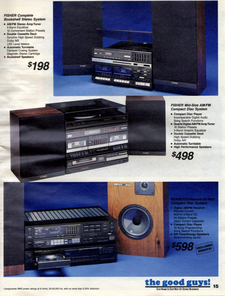 Retro Bookshelf stereo systems and mid-size AMFM Compact Disc system