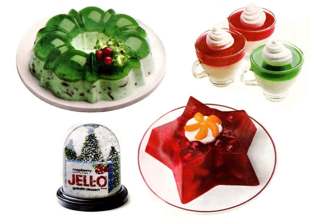 Retro Christmas Jello desserts from 1985