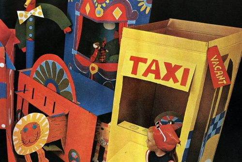 Retro DIY cardboard box forts and playhouses