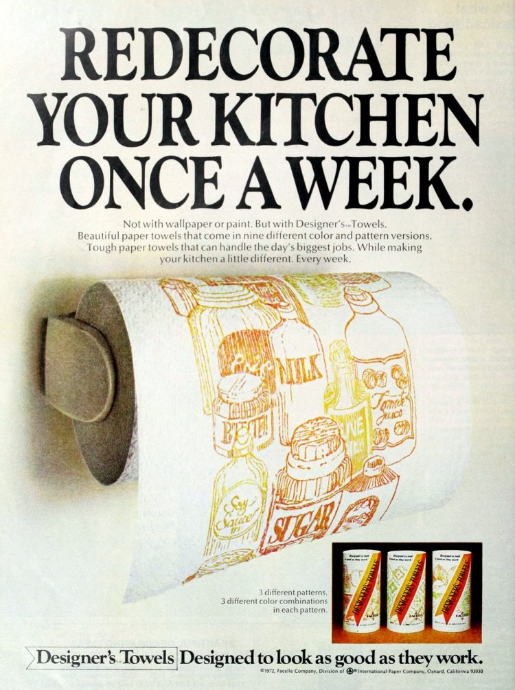 Retro Designer's Towels paper towels for the kitchen from 1972 (2)