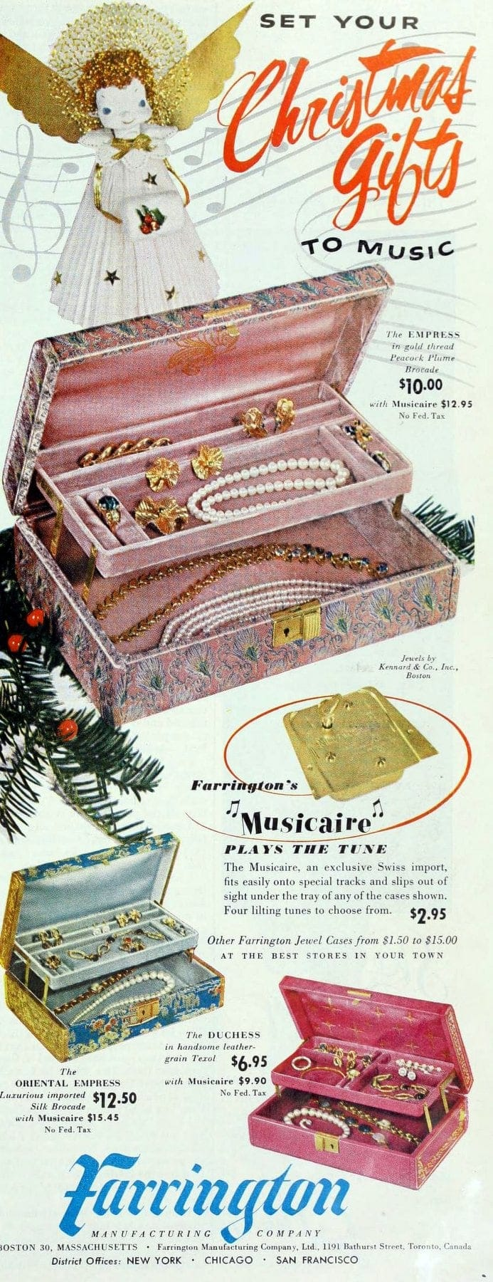 Retro Farrington jewelry boxes for women and girls from 1952