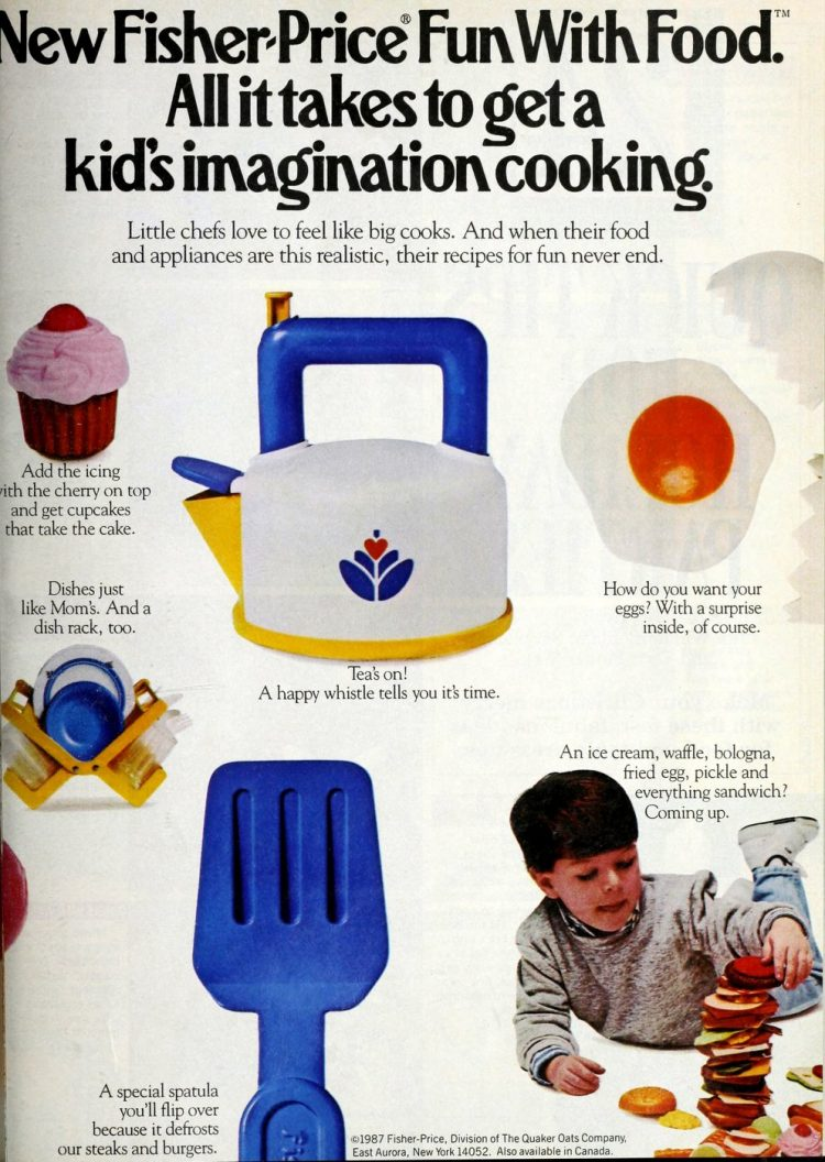 Retro Fisher Price play kitchen appliances and toys from 1987 (1)