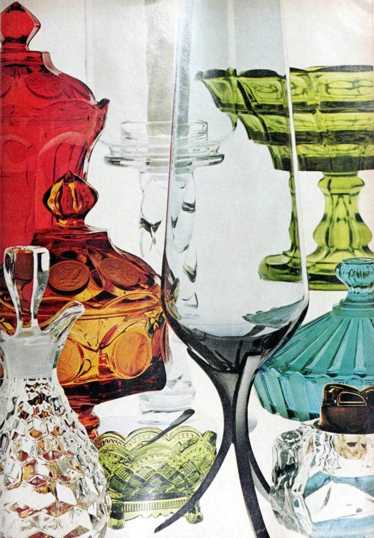 Retro Fostoria colorful glassware from 1968