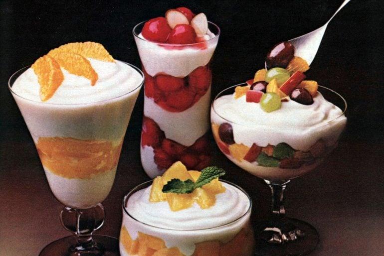 Retro Fruit 'n cream supreme dessert recipe (1982)