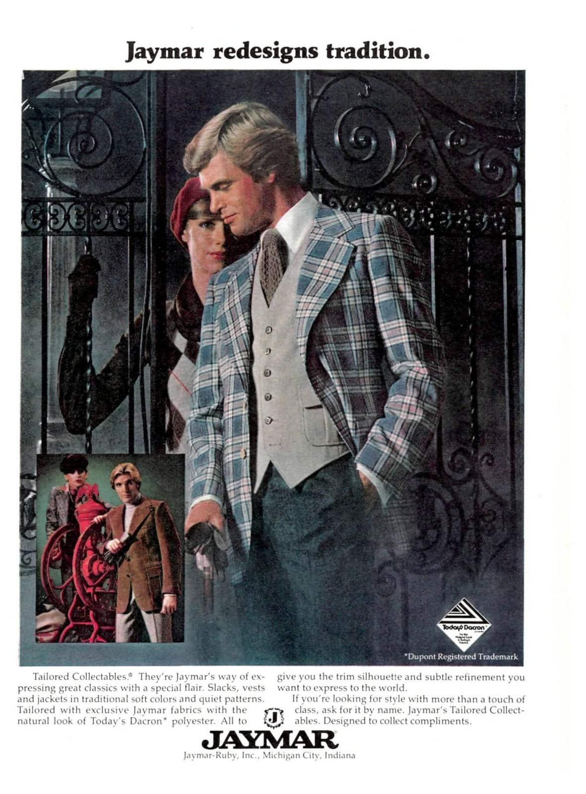 Retro Jaymar suits for men - Plaid jacket and grey vest (1977)