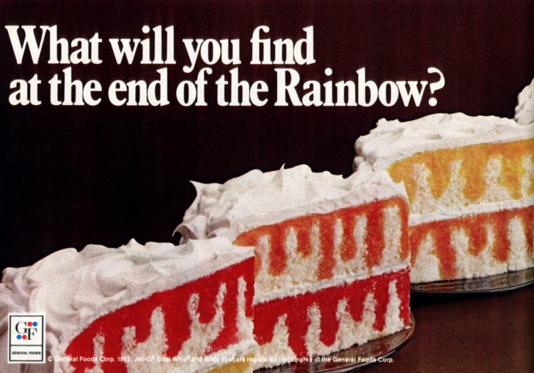 Retro Jell-O Rainbow Poke Cake recipe (1982)