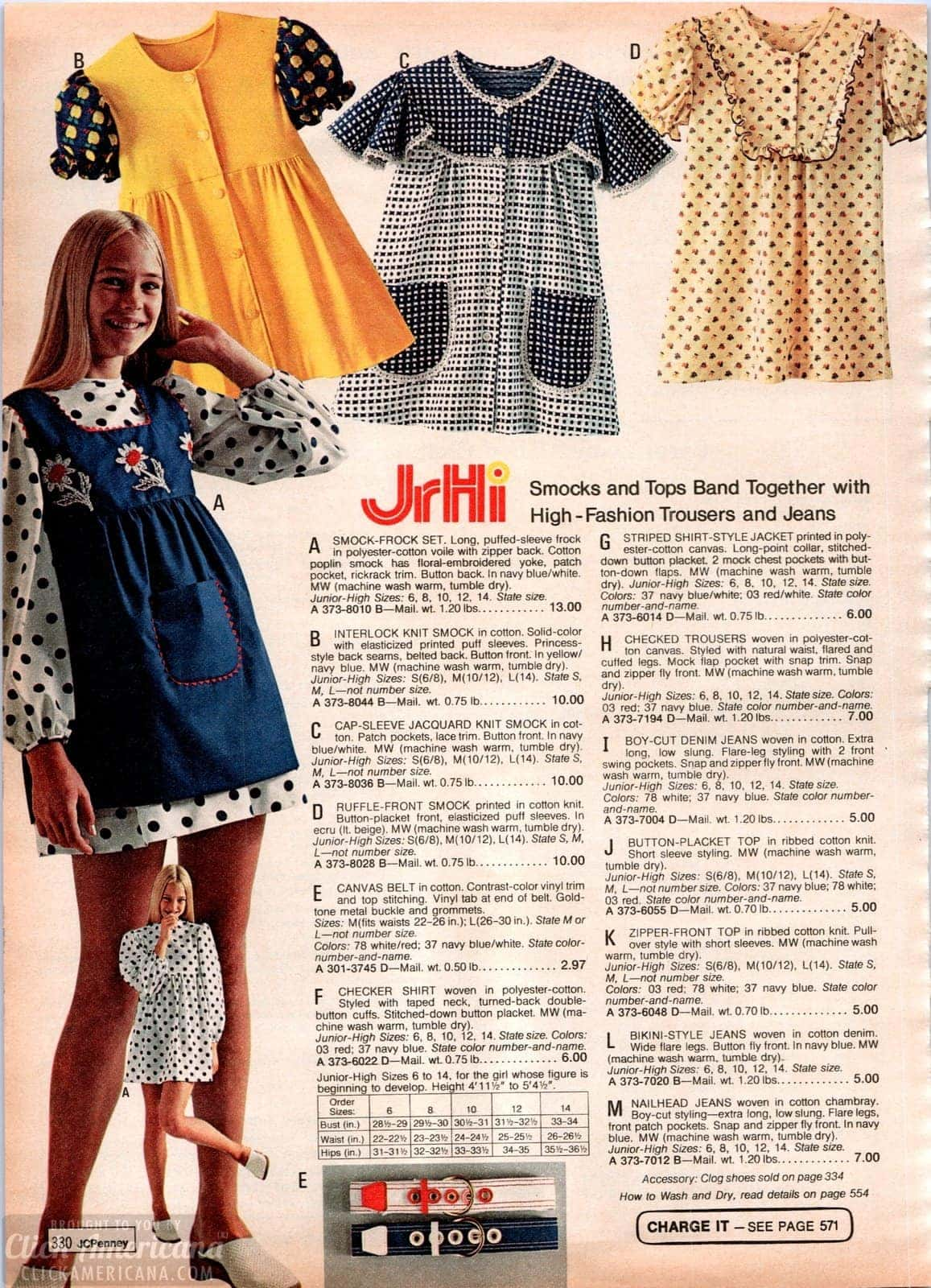 Retro JrHi smocks and tops plus high-fashion trousers and jeans for teen girls in 1973