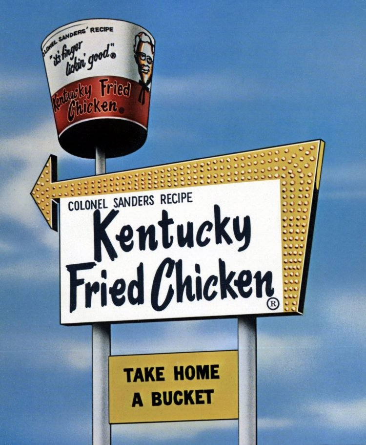 Retro Kentucky Fried Chicken sign with spinning bucket