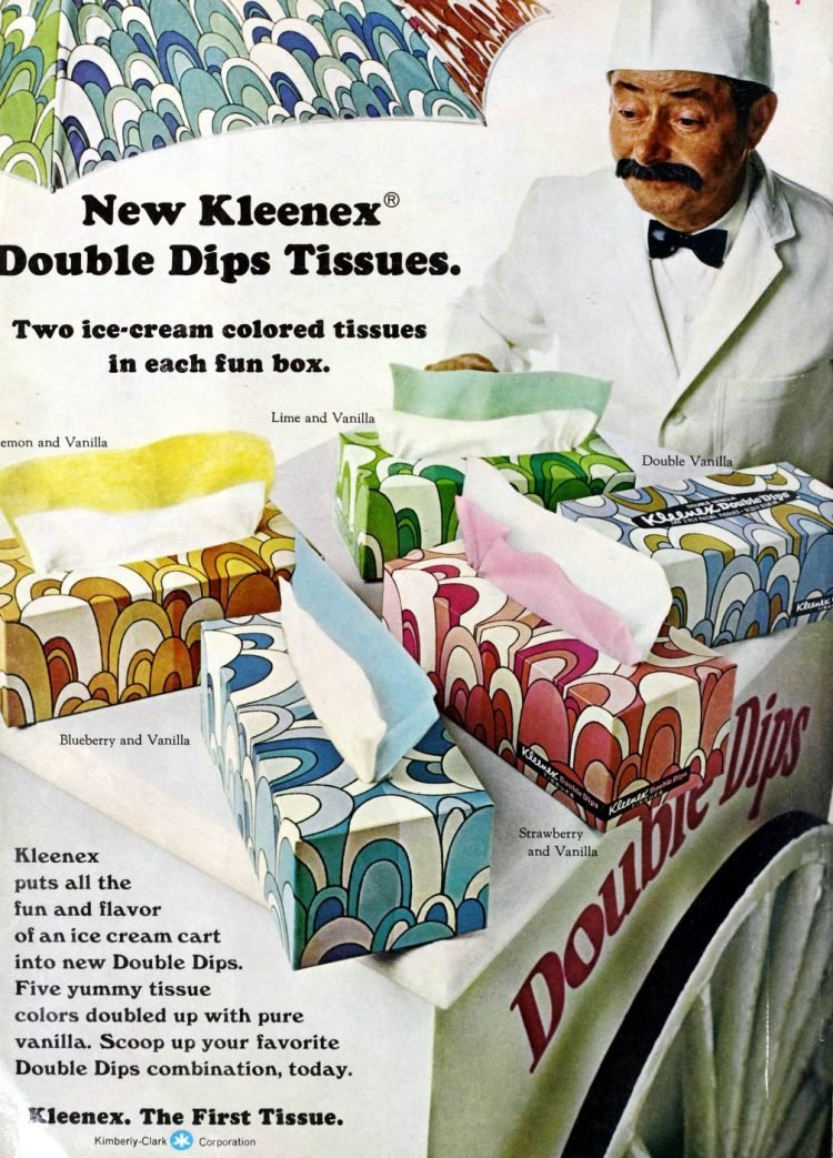 Retro Kleenex Double Dips tissues - two colors in the same box from 1970