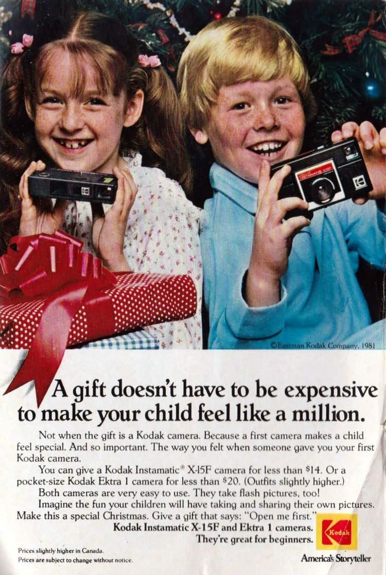 Retro Kodak Instamatic cameras ad from 1981