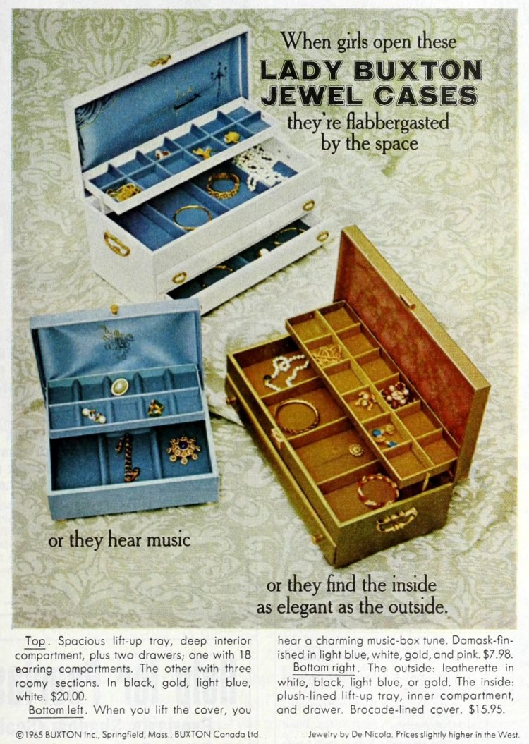Retro Lady Buxton jewel cases from 1965