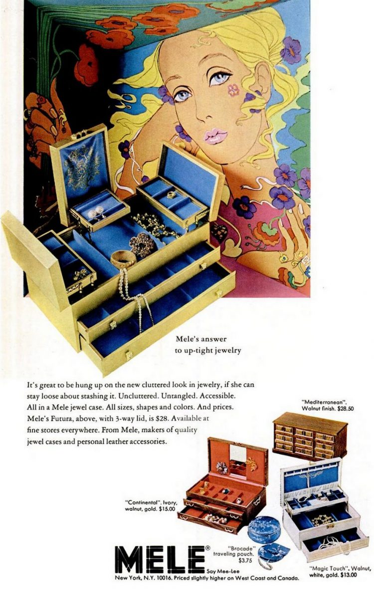 Retro Mele jewelry boxes for women and girls from 1969