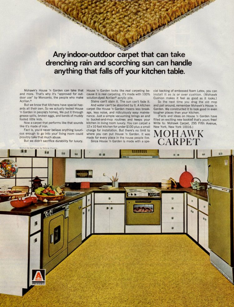 Retro Mohawk brand carpet for the kitchen from 1960s