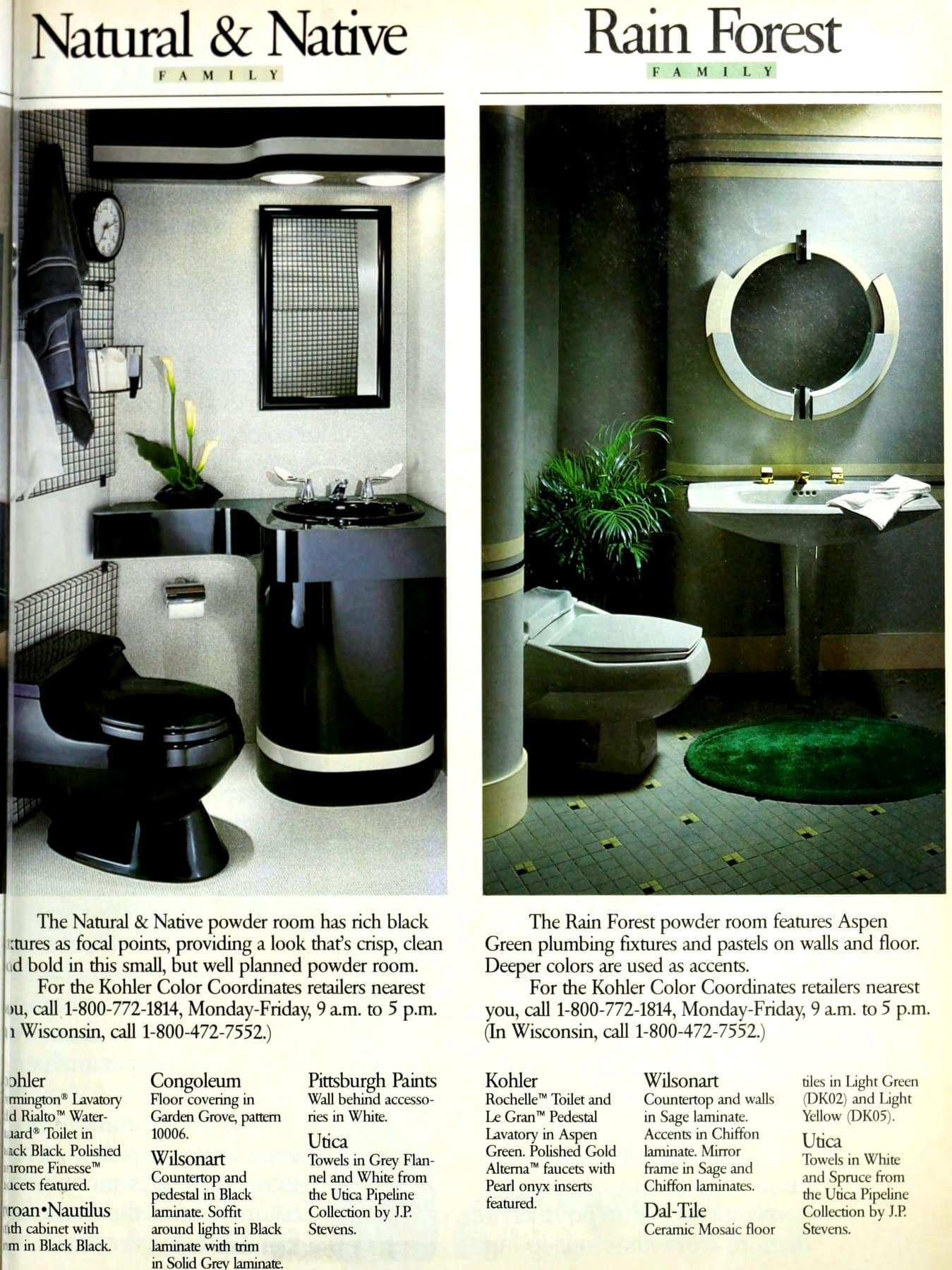 Retro Natural and Rain Forest powder room color schemes from the eighties