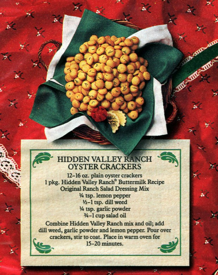 Retro Oyster Snack Crax with Hidden Valley Ranch dressing mix