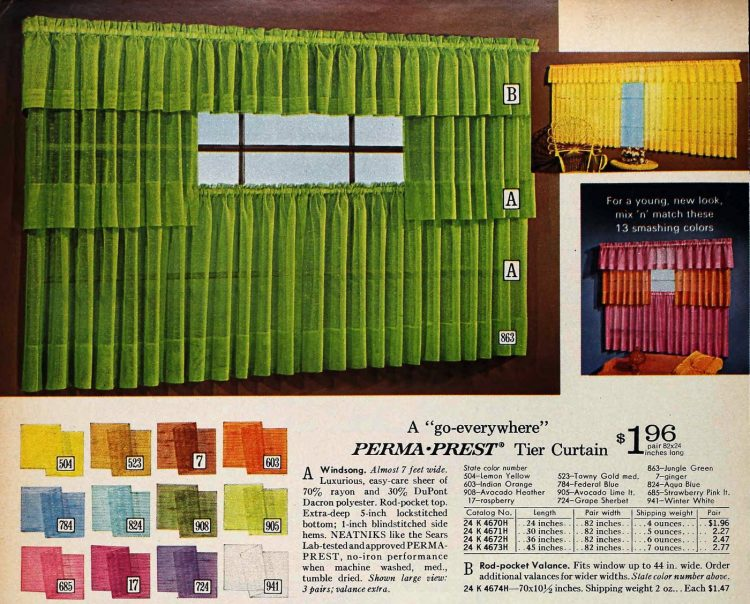 Retro Perma-Prest tier curtain Windsong