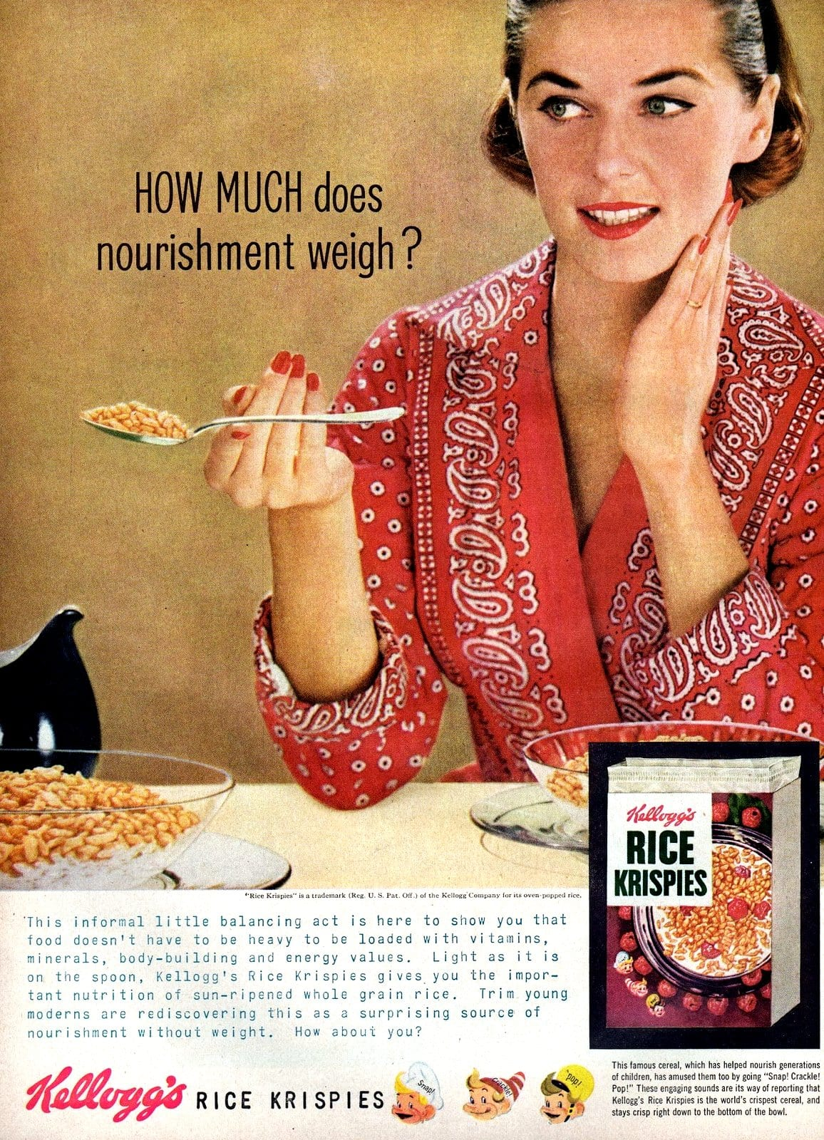 Retro Rice Krispies breakfast cereal ad (1956)