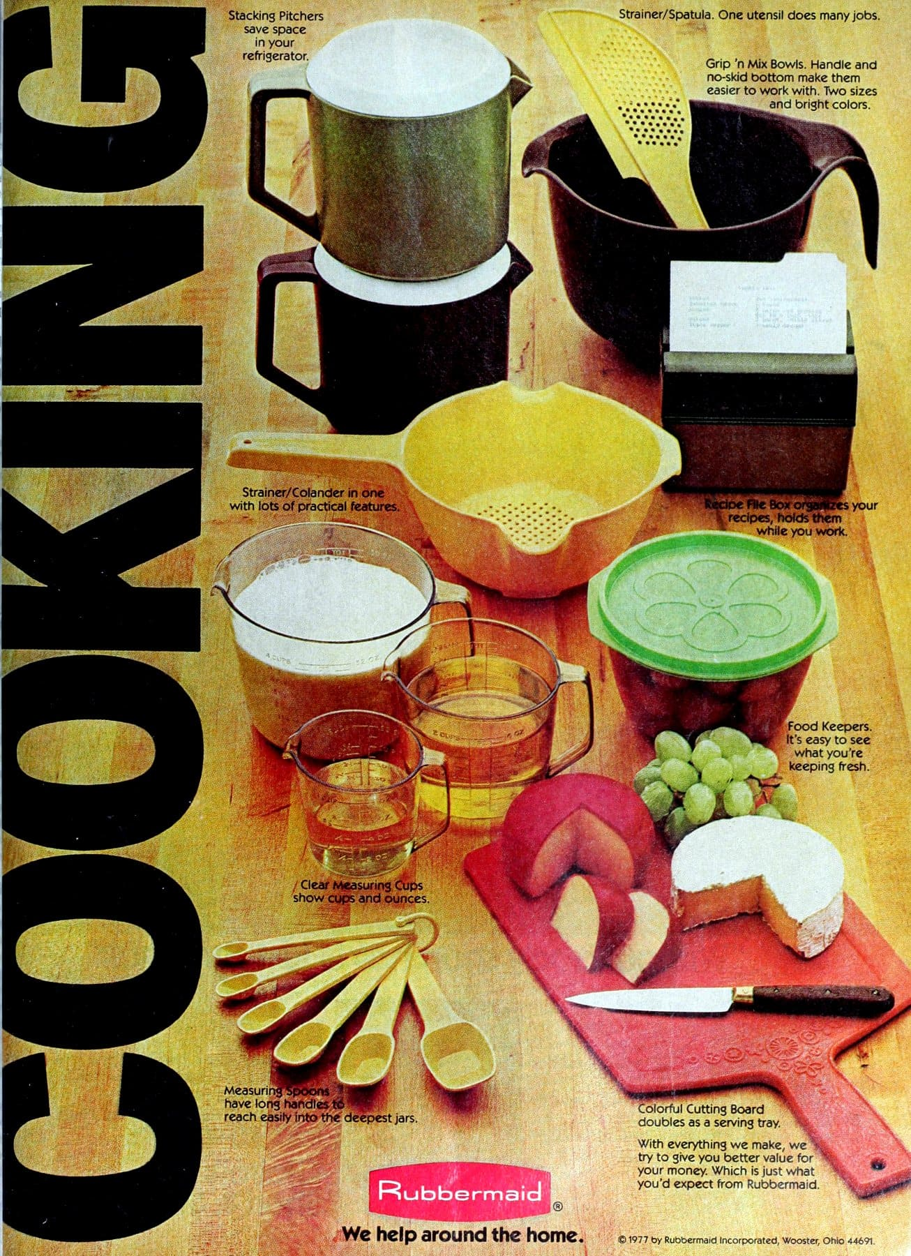 Retro Rubbermaid food storage and kitchen gadgets (1977)