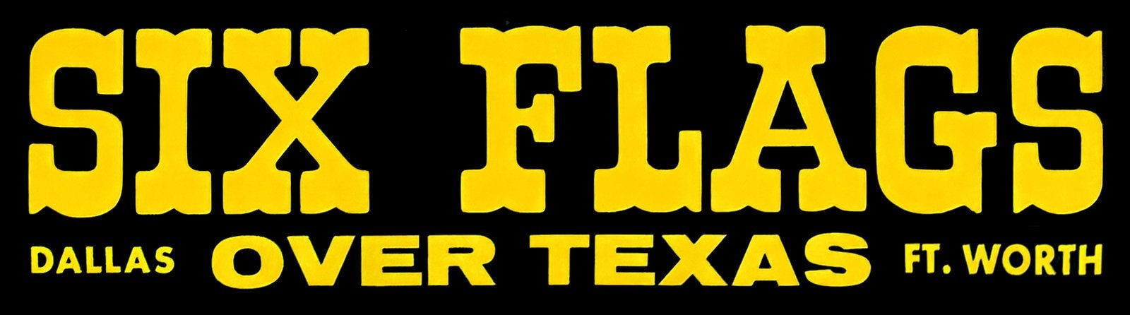 Retro Six Flags Over Texas bumper sticker
