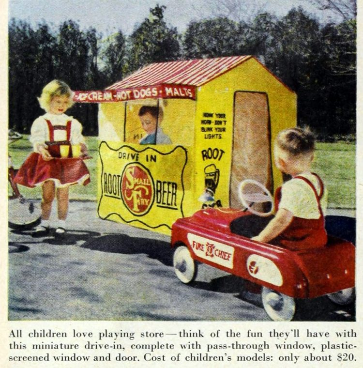 Retro Small Fry drive-in restaurant play house for kids from the 50s