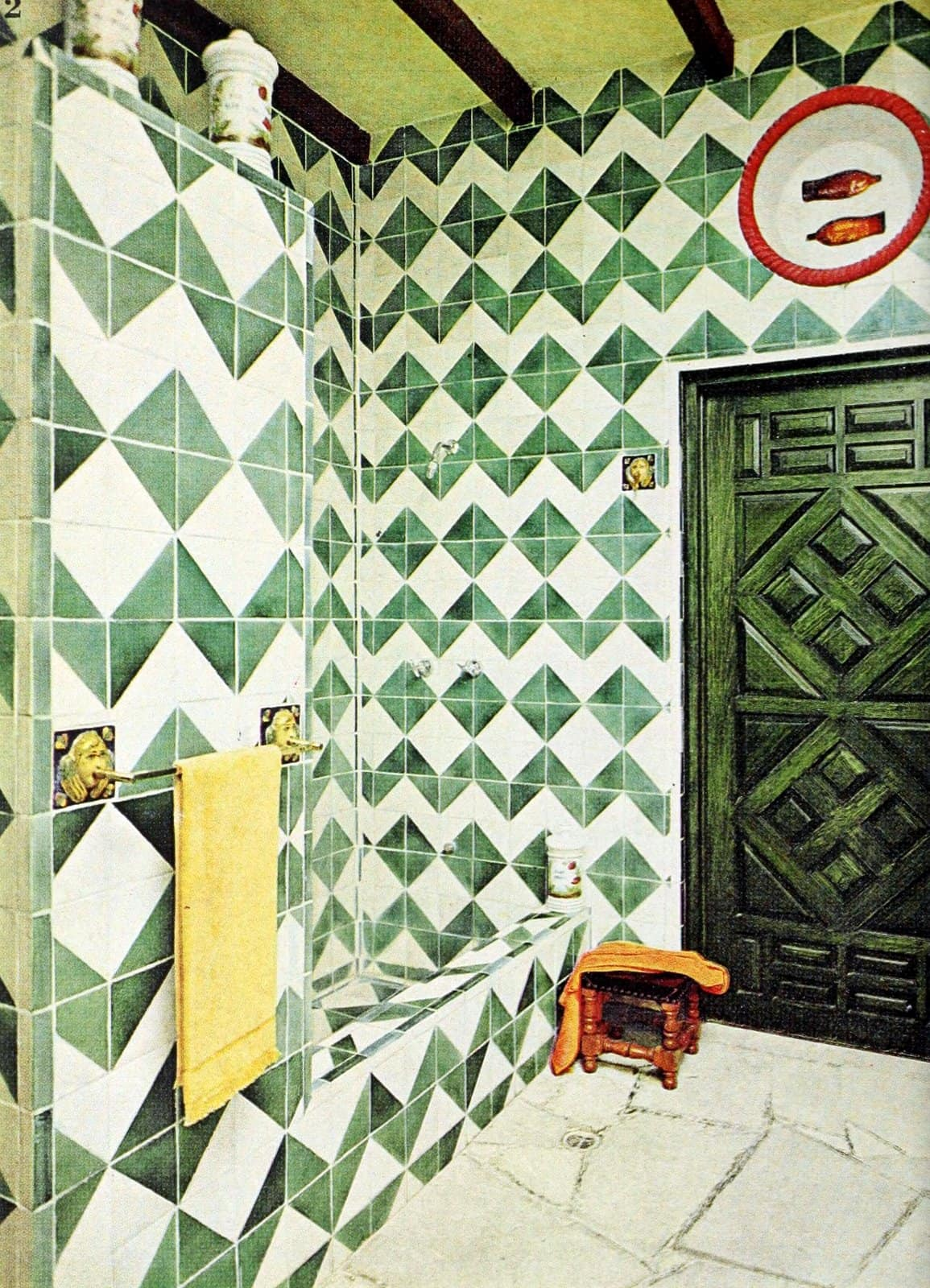 Retro Spanish-style green and white diamond-shaped tile designs from 1968