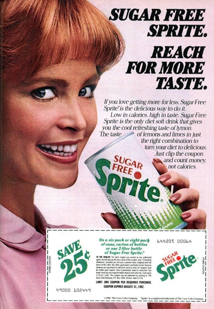 Retro Sugar Free diet Sprite ad from 1982