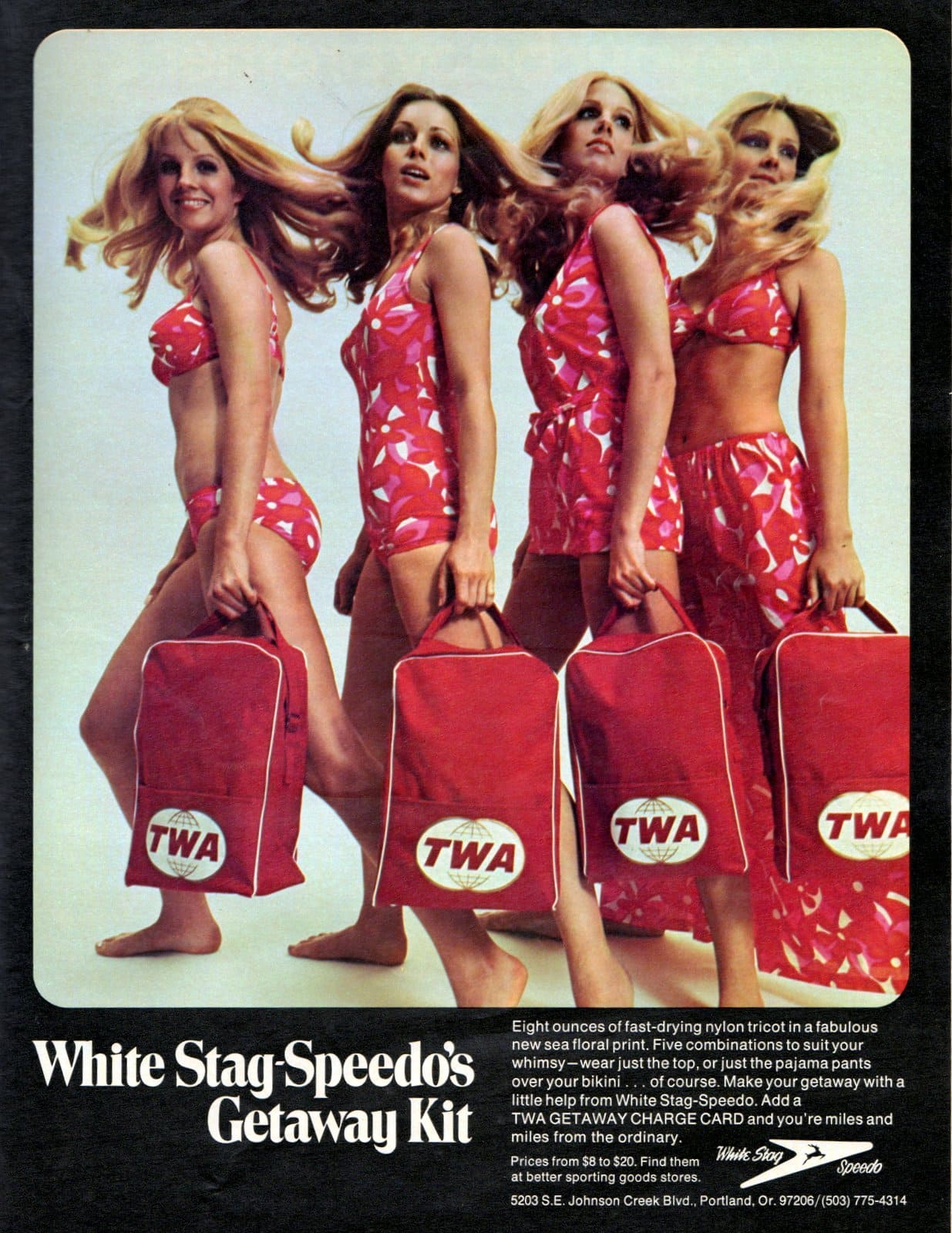 Retro TWA - White Stag - Speedo getaway kit and swimsuit offer (1970)