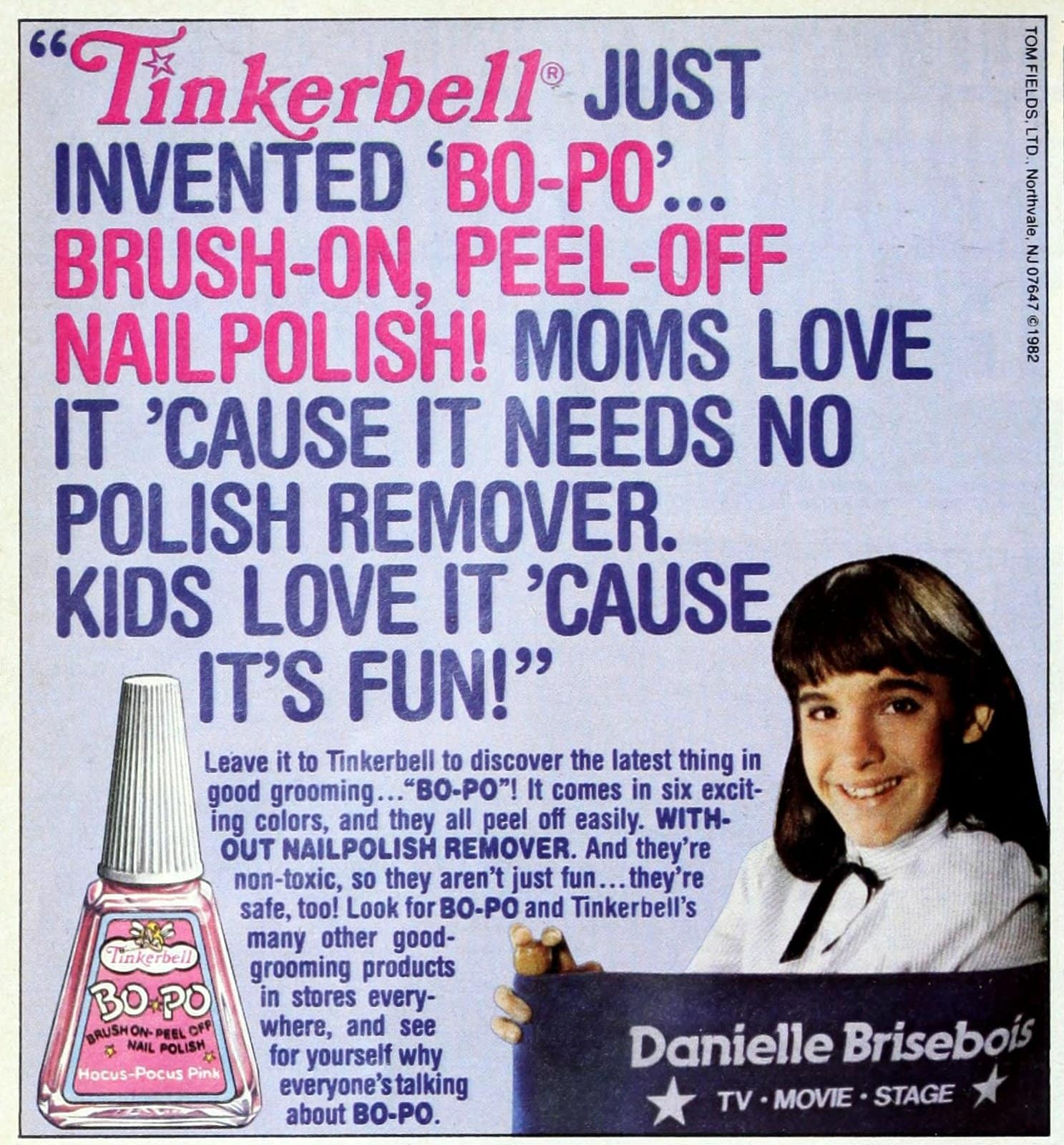 Retro Tinkerbell BO-PO Brush-on, peel-off nail polish with Danielle Brisebois (1982)