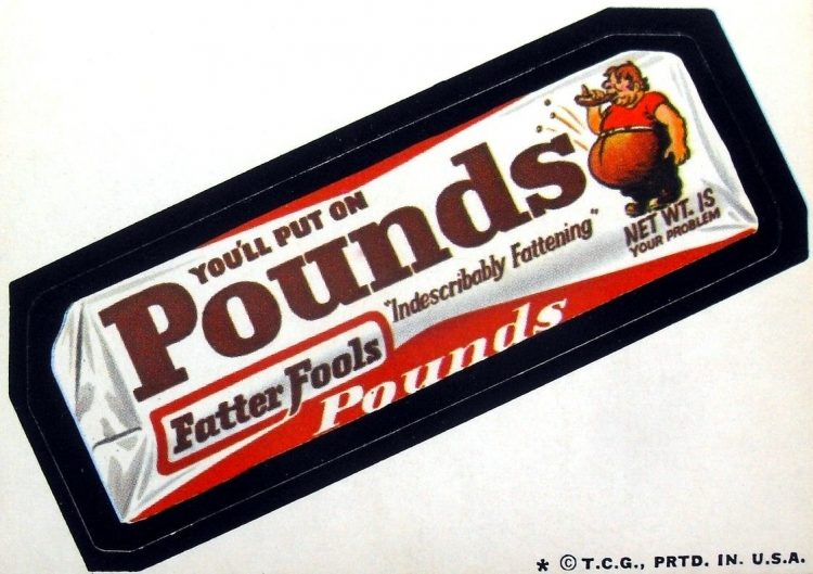 Retro Wacky Packages Pounds candy bar (1973)