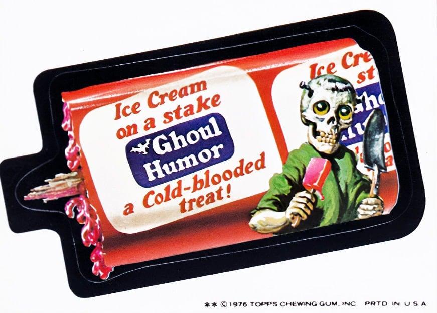 Retro Wacky Packs from the 1970s - Ghoul Humor ice cream bars
