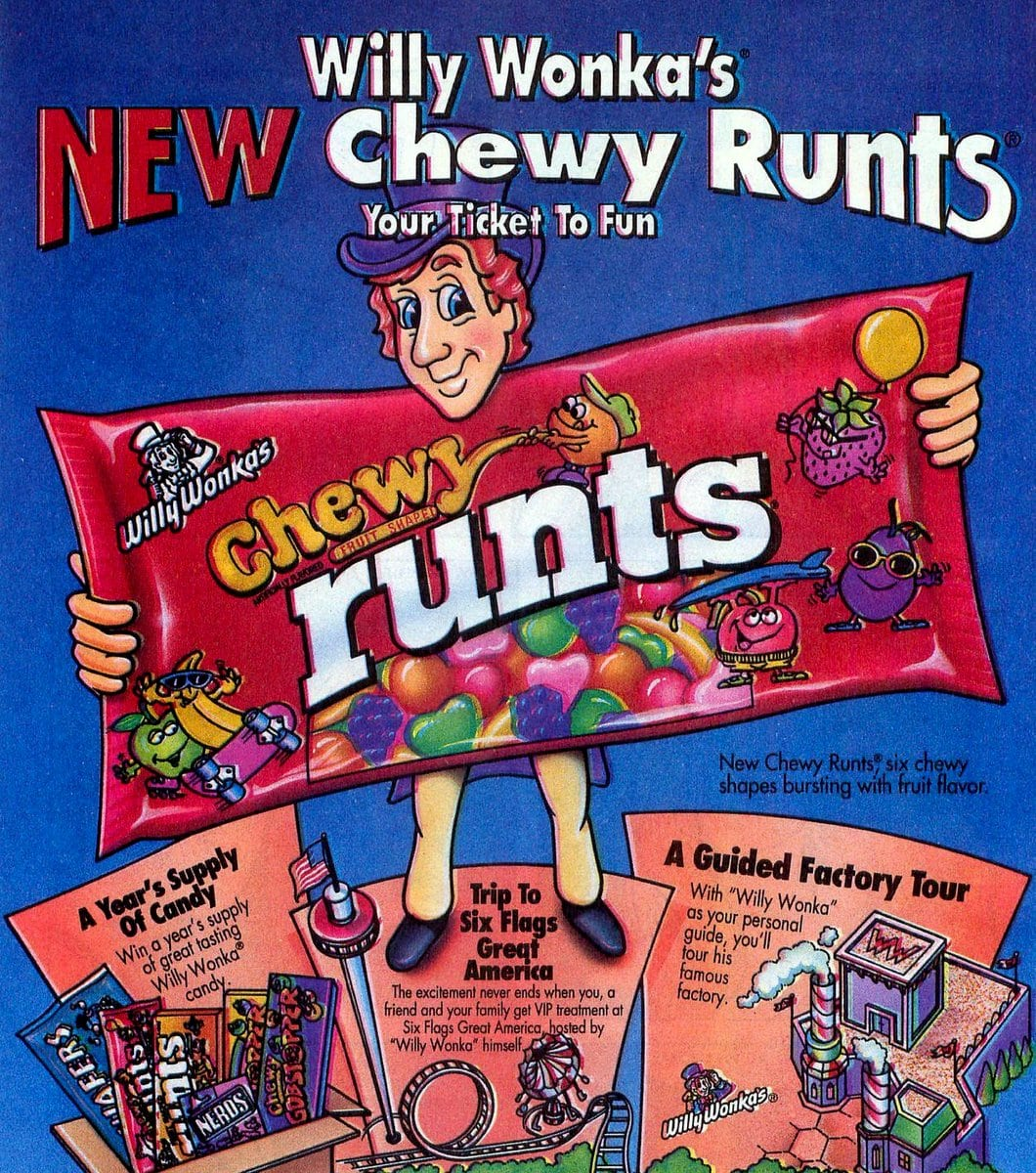 Retro Willy Wonka's Chewy Runts candy (1994)