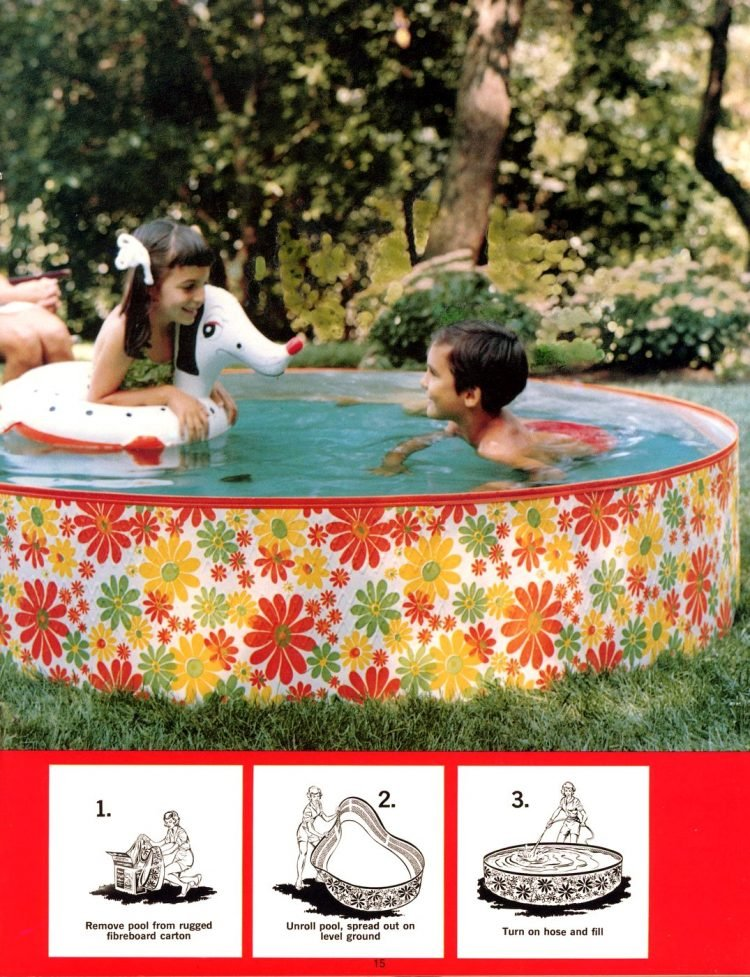 Retro above-ground pools with flowers - from 1969