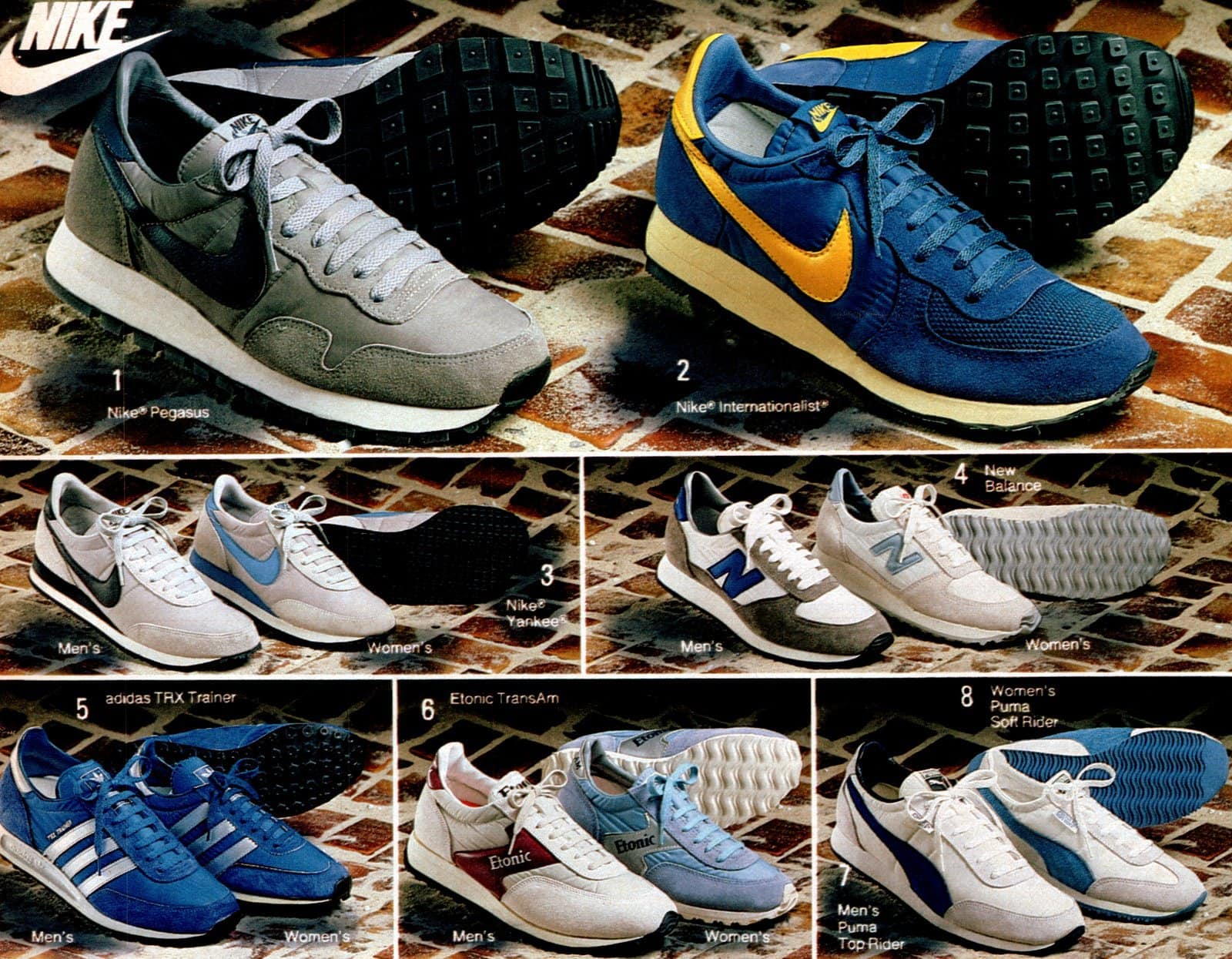 Retro and vintage Nike shoe styles from 1983