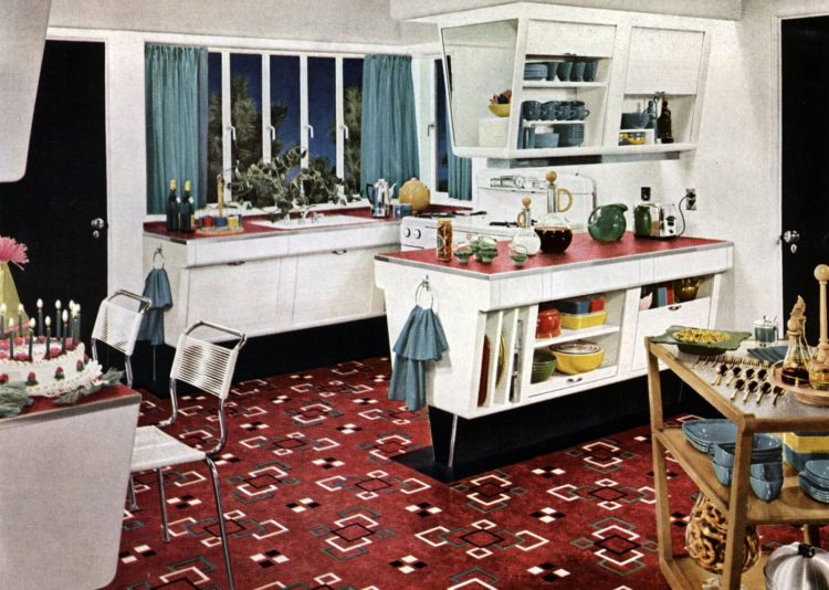 Retro angled vintage kitchen cabinets from the 1950s