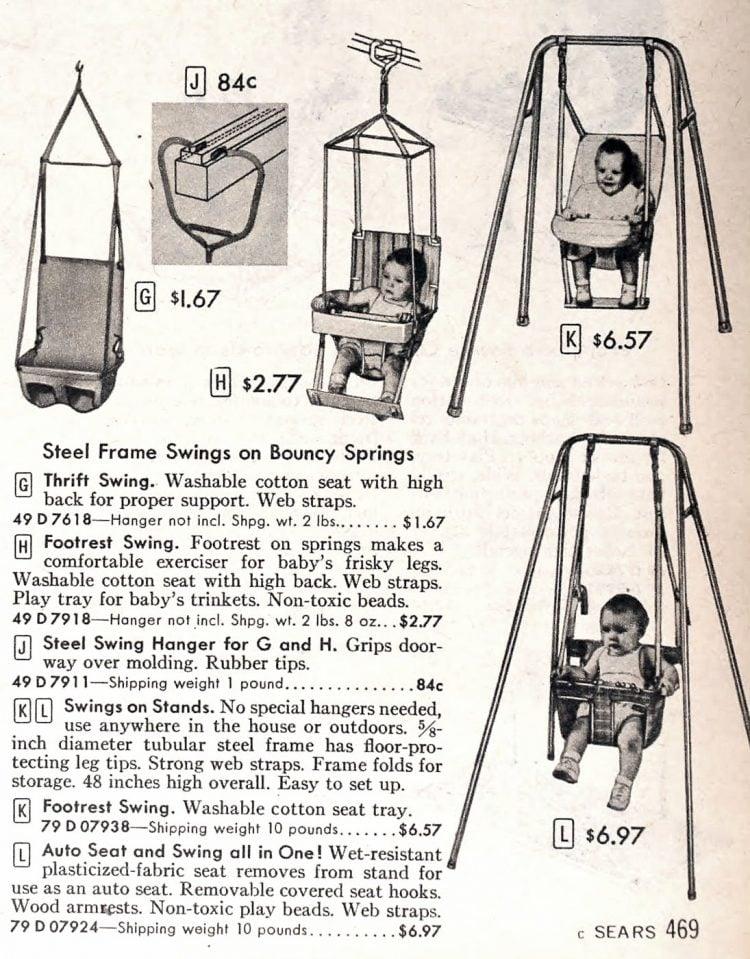 Retro baby swings and vintage door bouncers